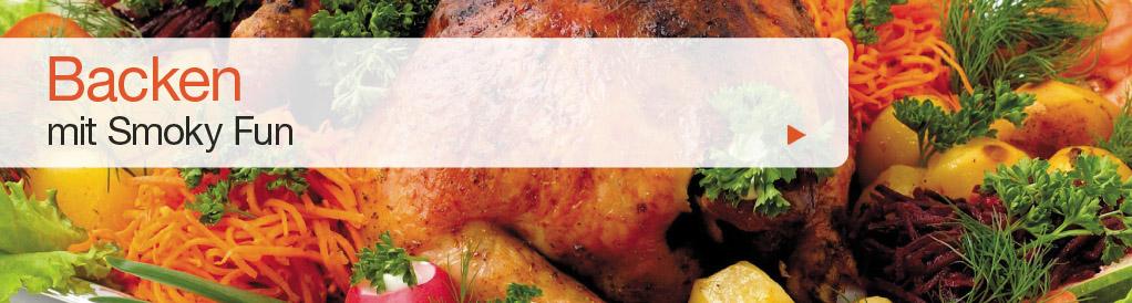 SMOKY FUN Grills eignen sich auch bestens zum Backen. Idealerweise wird dazu die Schamottplatte (siehe Zubehör) benutzt. So lässt sich knuspriges Brot oder Pizza backen. Die ideale Backtemperatur beträgt 180° – 260° C.